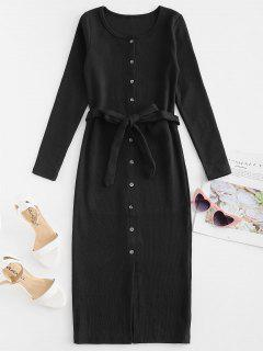 Button Up Belted Fitted Dress - Black L