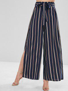 High Slit Stripes Wide Leg Pants - Dark Slate Blue L