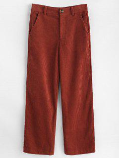 Wide Leg Corduroy Pants - Chestnut Red L