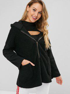 Zip Front Faux Fur Hooded Coat - Black M