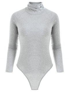 Long Sleeve Turtleneck Snap Crotch Bodysuit - Gray M