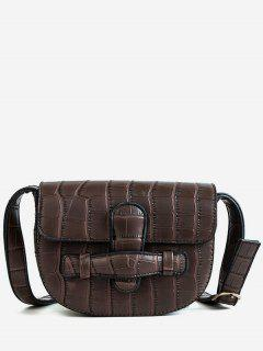Mini Crocodile Pattern Crossbody Bag - Brown