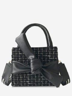 Bowknot Plaid Pattern Chic Handbag - Black