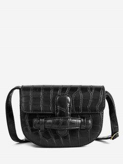 Mini Crocodile Pattern Crossbody Bag - Black