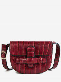 Mini Crocodile Pattern Crossbody Bag - Red Wine