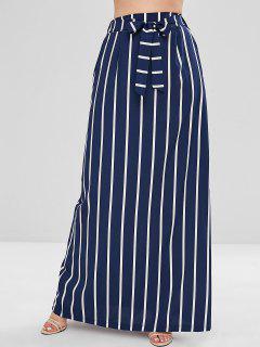 Stripes A Line Maxi Skirt - Midnight Blue L