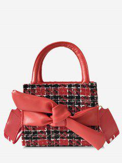Bowknot Plaid Pattern Chic Handbag - Red