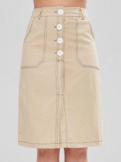 Contrasting Topstitching Slit Midi Skirt - Khaki L