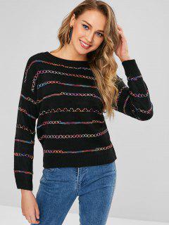Suéter Colorido Con Hilo Cruzado Cruzado - Multicolor