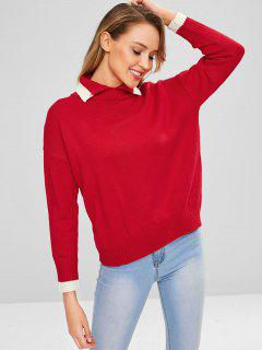 Contrast Trim Turn Down Collar Sweater - Red