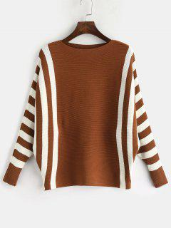 Dolman Sleeves Striped Pullover Sweater - Brown