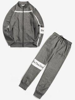 Casual Fleece Sweatshirt Pants Set - Gray L