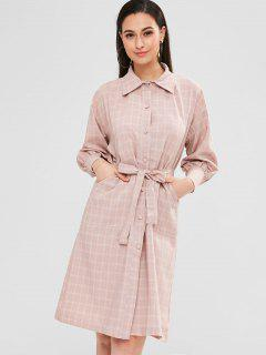 Belted Plaid Shift Shirt Dress - Light Pink L