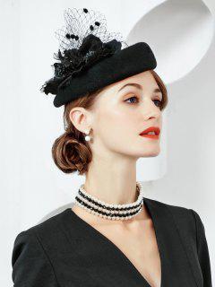 Flourishing Floral Tea Party Hat - Black
