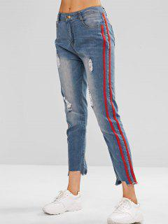 Striped Dsstroyed Skinny Jeans - Denim Blue M