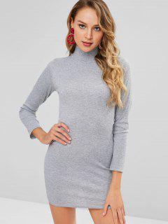 Ribbed Plain Long Sleeve Mini Dress - Gray Cloud M
