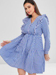 A Line Ruffled Plaid Dress - Blue