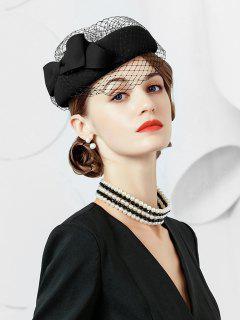 Elegant Large Bowknot Mesh Beret - Black