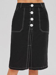 Falda A Media Pierna Con Costuras En Contraste - Negro L