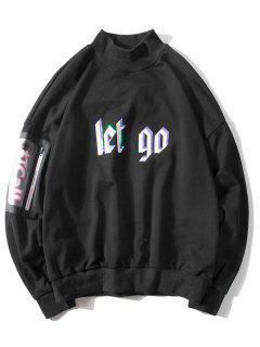 Loose Phone Pocket Sleeve Letter Sweatshirt - Black L