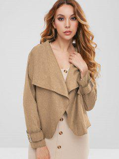 Fleece Open Front Jacket - Camel Brown S