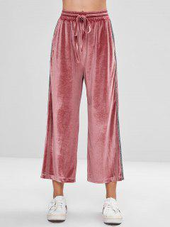 Elastic Waist Wide Leg Velvet Pants - Tulip Pink M