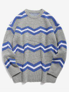 Contrast Wave Knitted Sweater - Light Gray L