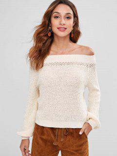 Off Shoulder Eyelet Sweater - Beige L