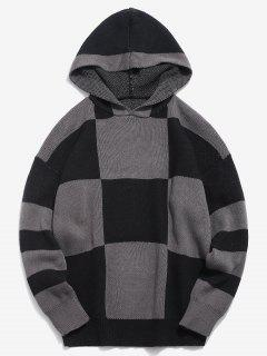 Color Block Hooded Knitted Sweater - Black Xl