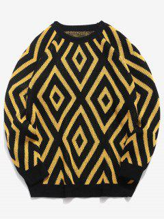 Geometric Crew Neck Knitted Sweater - Black 3xl
