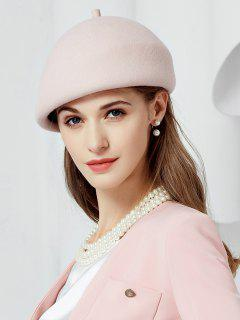 British Style Solid Color Wool Beret - Pink