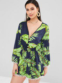 Palm Leaves Half Buttoned Long Sleeve Romper - Midnight Blue M