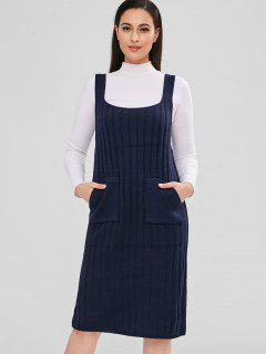 Solid Color Knitted Suspender Dress - Cadetblue