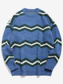 Contrast Wave Knitted Sweater - Blue 2xl