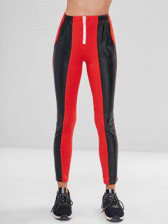Faux Leather Front Zipper Pants - Red M
