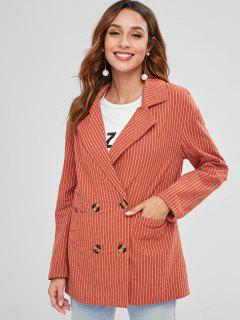 ZAFUL Back Slit Striped Lapel Blazer - Chestnut Red M