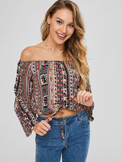 Drawstring Printed Off Shoulder Blouse - Multi M