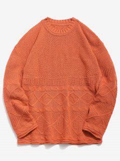 Solid Geometric Twist Knitted Sweater - Dark Orange 4xl