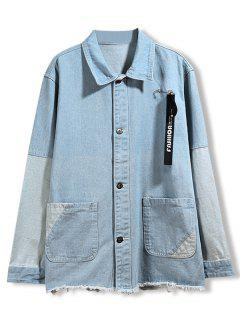 Rough Bottom Selvedge Splicing Denim Coat - Light Blue 3xl