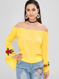 Blusa Con Hombros Descubiertos Bordados Con Flores - Amarillo M