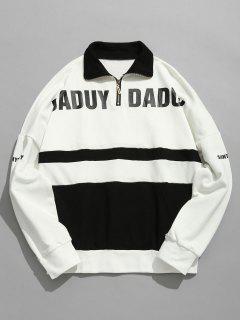 Graphic Pattern Zip Embellished Sweatshirt - White Xl