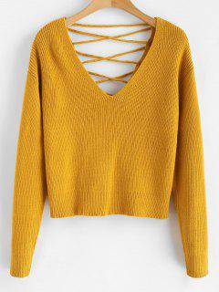 V Back Lace Up Sweater - Bee Yellow L