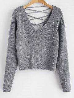 V Back Lace Up Sweater - Gray M