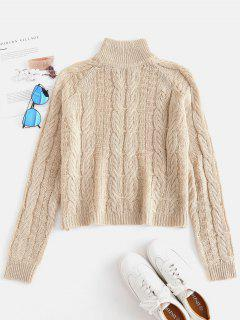 Cable Knit High Neck Sweater - Light Khaki