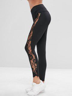 Lace Insert See Through Leggingse - Black S