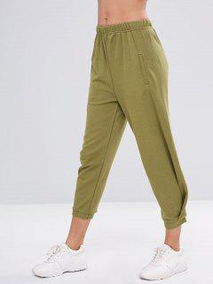 Elastic Waist Casual Running Pants - Khaki