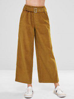 Belted Corduroy Wide Leg Pants - Light Brown L
