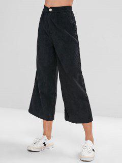 Wide Leg Corduroy High Waist Pants - Black L