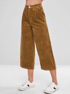 Pantalon à Taille Haute En Velours Côtelé - Brun L