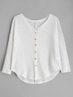 Button Up Drop Hombro Cuello En V Cardigan - Crema De Crystal S